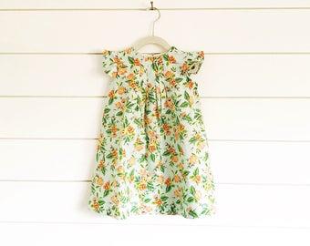 Floral baby dress floral girls dress floral toddler dress baby dress girls dress girls easter dress flutter sleeve easter dress rifle paper