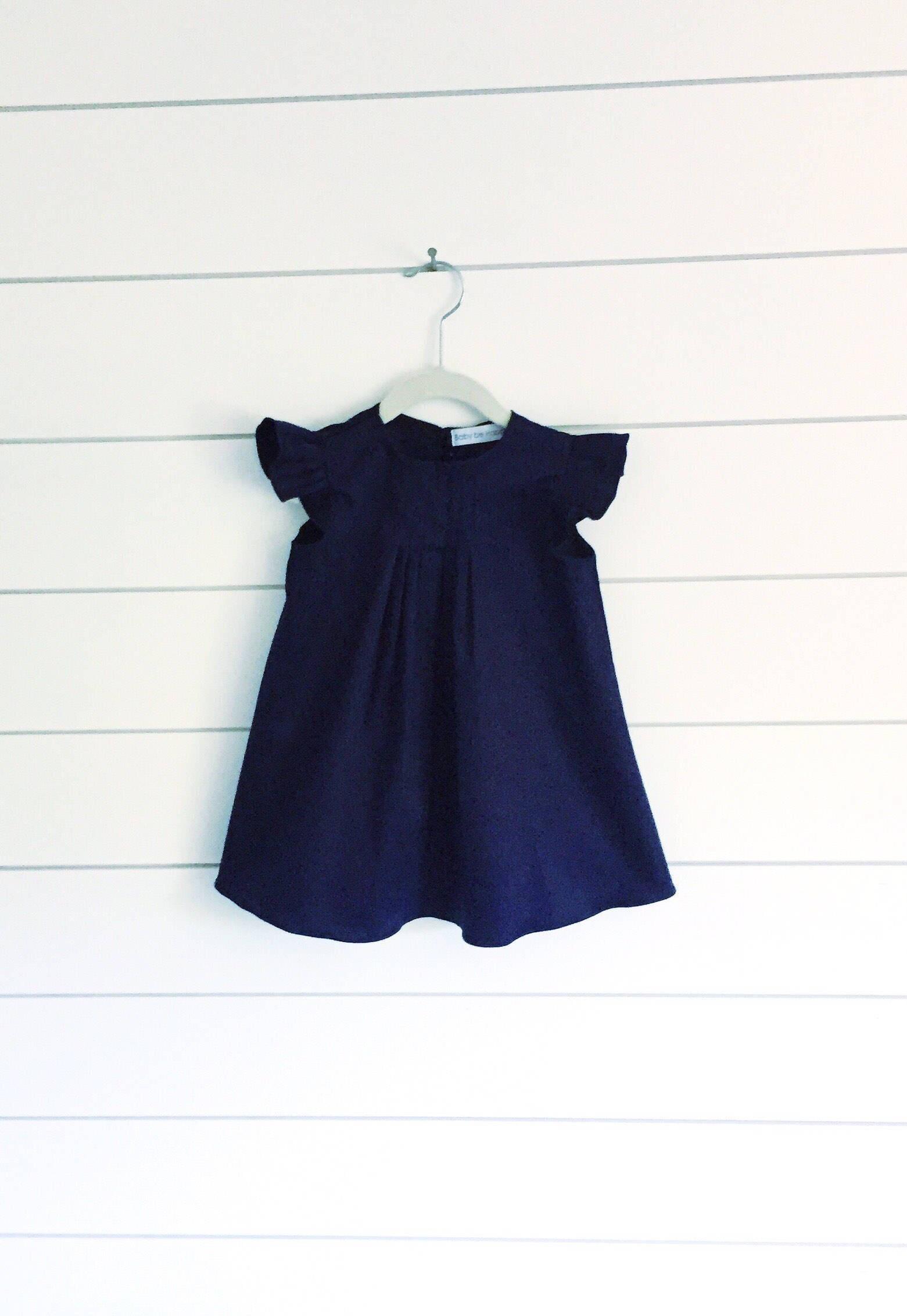 Blue Toddler Dress Flutter Sleeve Dress blue Baby Dress Girls