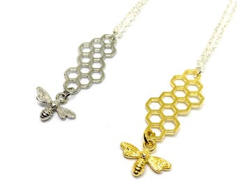 Bumblebee honeycomb charm necklace