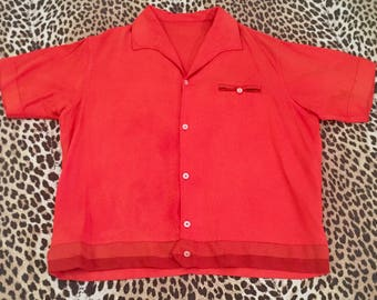 Orange 1950s short sleeve men's shirt