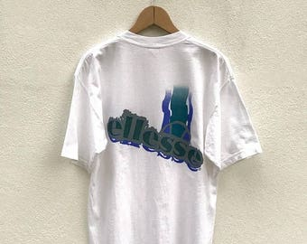20% OFF Vintage Ellesse T Shirt / Ellesse White T Shirt / Sports Tees / Ellesse Big Logo / Streetwear / Tennis Shirt