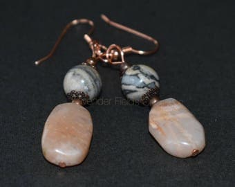 Landscape Jasper and Cherry Quartz Drop Earrings  (20183E)