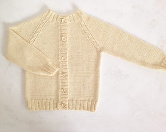 Baby sweater / baby clothes / hand knit baby sweater / baby girl / baby alpaca-silk wool / baby gift / size 12-18 months