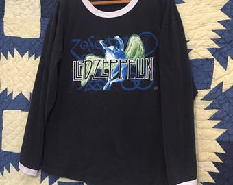 Vintage Broken In 1990s Led Zeppelin Long Sleeved Tee Mens Medium