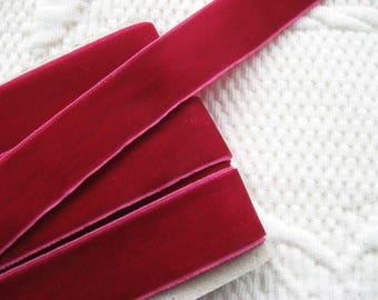 "Velvet nylon ribbon trim in Bordeaux, width 22mm (0.86"") non-elasticated PER METRE (1.1 yards)"