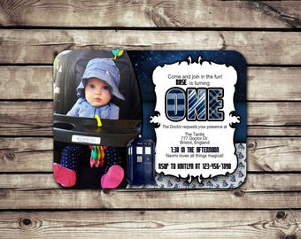 Custom Photo Birthday Invitation // Doctor Who Inspired