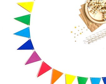 Rainbow Party Banner - Triangle Flags - Bunting - Garland