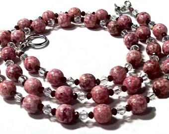 Pink crystal necklace; Beaded; Natural garnet, Swarovski crystals; Czech crystal pearls;