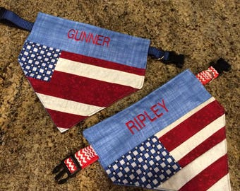 Celebrate the USA with a specially made for your pup Doggie Bandana.