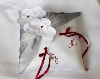 Wedding ring pillow, wedding pillow, white, gray and Burgundy custom