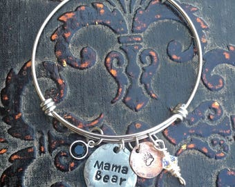 Mama Bear Southern themed Hand Stamped  Stainless Steel Pewter Expandable Bangle Bracelet