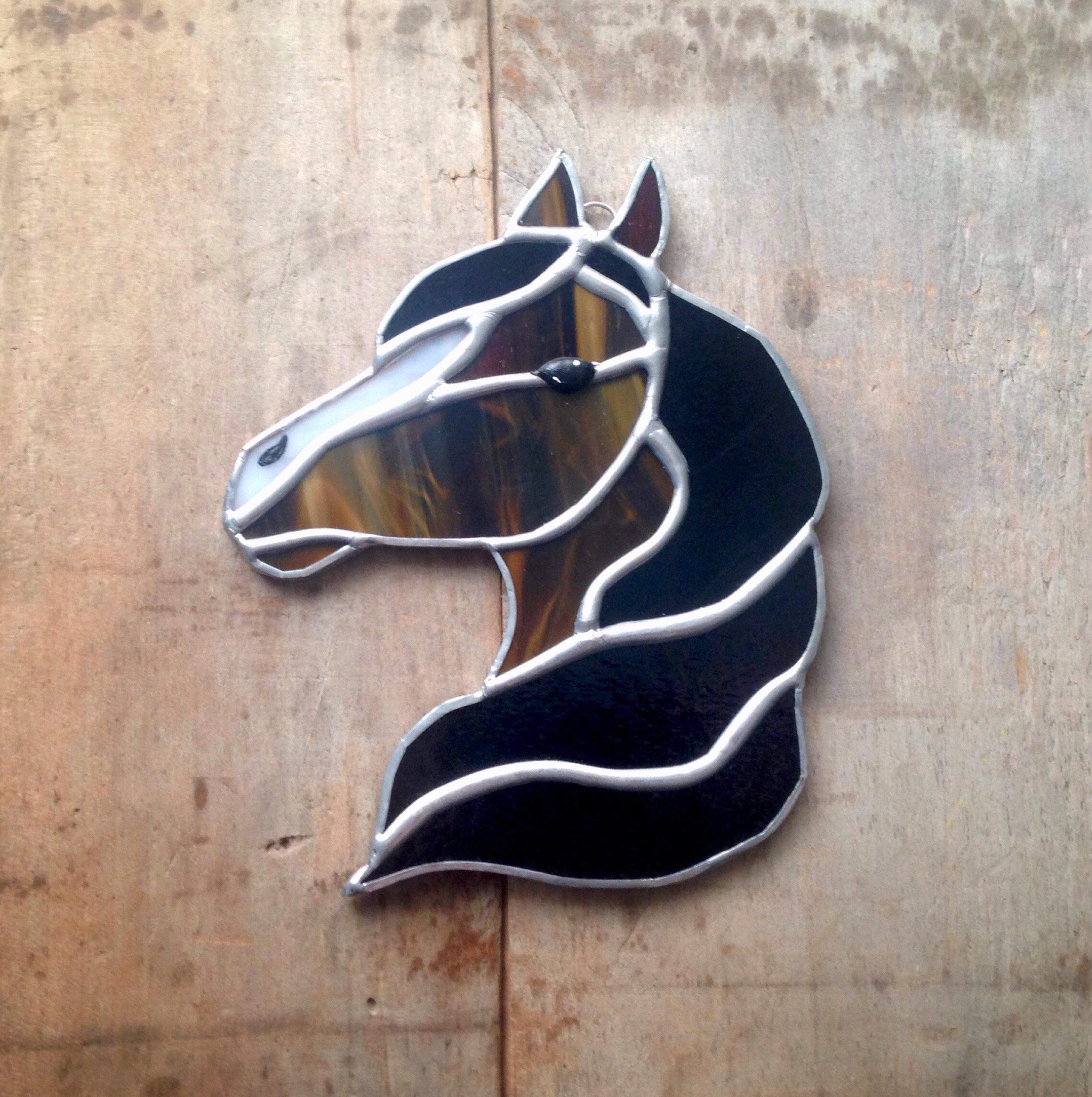Horse Western Home D Cor Accessories Equestrian Themes: Stained Glass Horse Horse Decor Western Decor Brown White