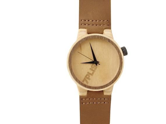 7PLIS watch #089 Recycled SKATEBOARD #madeinfrance brown beige wood