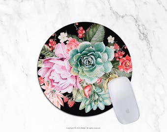Succulent Mousepad floral mouse pad Round or Rectangle Mouse pad Beautiful Design Floral Mouse pad Cute gift Mousepad 12