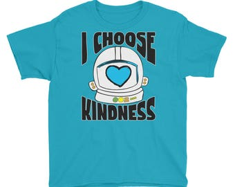 Youth - Choose Kind - I Choose Kindness Helmet Shirt - Youth Short Sleeve T-Shirt Youth Kid Shirt Kids T-Shirt Girls Shirt Boys Shirt