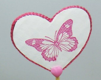 White and pink heart shaped decorative butterflies stick
