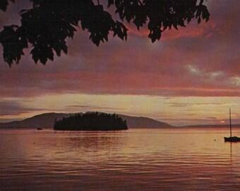 Sunset from Chuckanut Drive Puget Sound Washington Vintage Postcard San Juan Islands WA Travel Souvenir Dot Island & Lummi Island