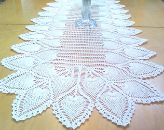 Large white lace crochet table runner pineapple design