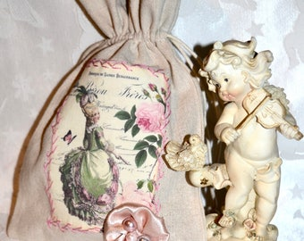 Lovely little pouch beige cotton Theme Marie Antoinette and flower satin and pearls