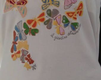 Butterflies top, handpainted top, one-of-a-kind top, top handmade, cotton handpainted, gift for her