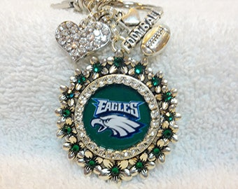 Philadelphia Eagles Keychain, Swarovski Rhinestones Eagles Football Team Inspired Bling Fan Gift