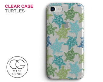 Turtles Pattern Clear Phone Case for iPhone X, 8 Plus, 7, 6, 6s Cell Phone Cover Clear and Frosted Transparent Turtle Animal