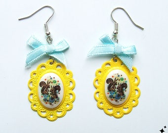 Kitsch Squirrel Cameo Earrings - vintage deadstock, yellow, with blue bows, quirky, kawaii, cute, animal, jewelry