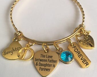 Father daughter bracelet-personalized-father daughter gold plated stainless steel charm bangle