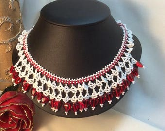 Red Heart Netted Choker Brilliant Red Glass Hearts White Seed Beads w/Heart Arrow Toggle Clasp DarlingArtByValeri Custom Handmade Valentines