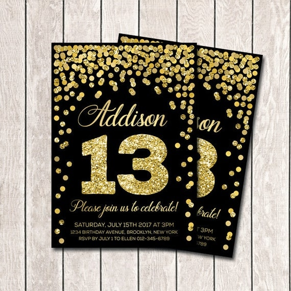 13th birthday invitation girl birthday invites printable gold