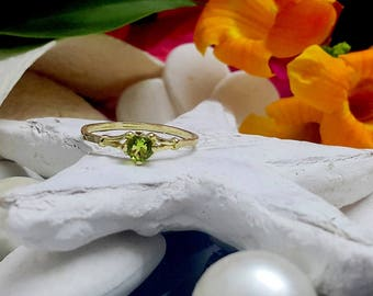 SALE! Gold Ring - August birthstone ring -Peridot ring-Stackable Ring - Birthstone Ring - Tiny ring - Simple ring - Prong Setting