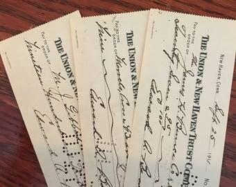 1911 vintage checks union trust 3 qty scrapbook ephemera