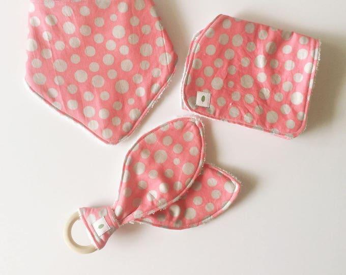 Pink Polka Dot Bandanna Bib, Teether and Burp Cloth Baby Gift Set - Wood Ring Teether - Bunny Ear Teether - Silver Dot Burp Cloth