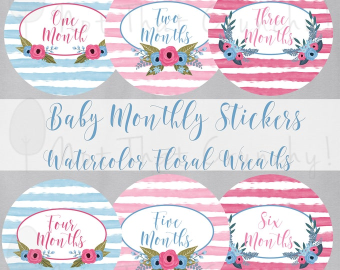 Baby Monthly Growth Stickers - Milestone Bodysuit Stickers - Floral Watercolor Photo Stickers - Floral Baby Month Stickers (MS55)