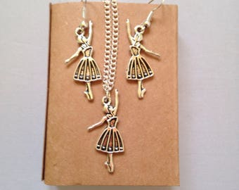 Ballet Dancer Charm Gift Set, Dancer Necklace, Dancer Drop Earrings, Gift Box Jewellery, Fashion Jewellery, Gift For Dancer, Dancing Themes