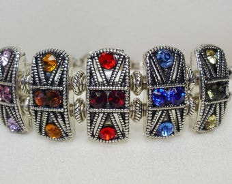Guitar String Bracelet With Rainbow Rhinestone Sliders