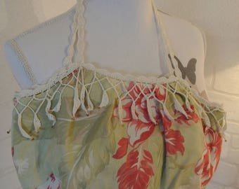 Hand crocheted lace and linen mix bag