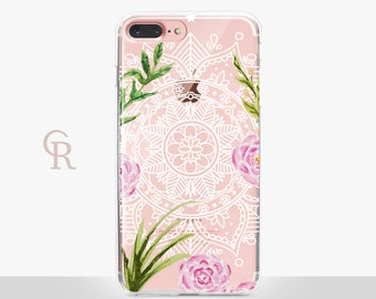 Mandala iPhone 7 Case - Clear Case - For iPhone 8 - iPhone X - iPhone 7 Plus - iPhone 6 - iPhone 6S  iPhone SE Transparent - Samsung S8 Plus