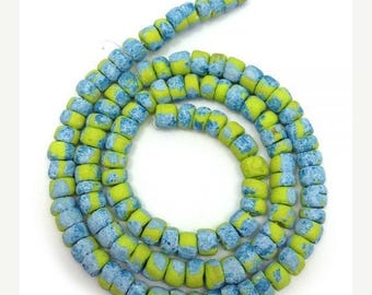 SALE 15% OFF 1 Strand coco beads, lemon with stains, 5mm, pukalite, 114 pieces, coco slices, speckled beads, exotic beads