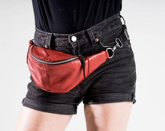 Upcycled Red Leather Fanny Pack