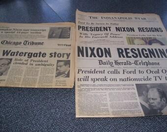 Nixon Watergate Nixon Resigns Watergate Transcript Newspapers Vintage