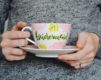 Bridesmaid Tea Set // personalized bridal party gift