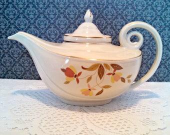 "Vintage Aladdin Teapot, Hall ""Autumn Leaf"" Aladdin Teapot with Infuser, Mary Dunbar, Jewel Tea Company Exclusive, 7 Cups, Circa 1940s"