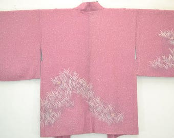 KIKKYOU FLOWER a vintage Japanese kimono haori in dark pink with a wax batik design