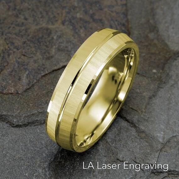 Mens wedding band 14k solid gold wedding ring gold mens like this item junglespirit Choice Image