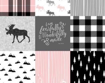Lumberjack/ moose, Pink and Grey Fitted Crib sheet Available in Minky or Cotton