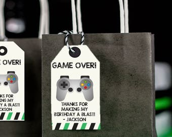 GAME OVER Editable Favor Tags,  Instant Download, use own wording, gaming, video games, computer, games, tags, download file, thank you tag