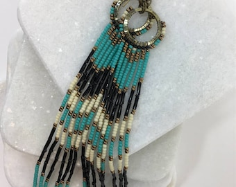 Long Bohemian Fringe Lightweight Boho Hippie Chic Gipsy Turquoise Shoulder Dusters Earrings- Free US shipping
