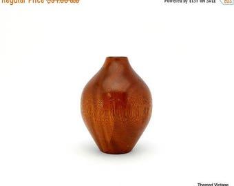 Sale Wood vase weed pot mid century modern turned wood artist signed Roy Ries