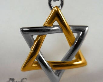 Silver & Gold Two-Tone Star of David Pendant 18″ Necklace